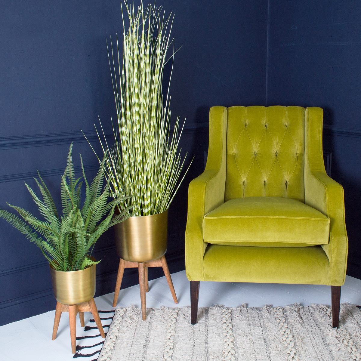 Sumptuous Winged Back Velvet Armchair £1495. Faux Zebra Grass £102. Brass Planter With Stand From £78
